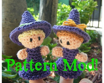 Witch Finger Puppet PDF pattern - MODIFICATIONS ONLY Instant Download