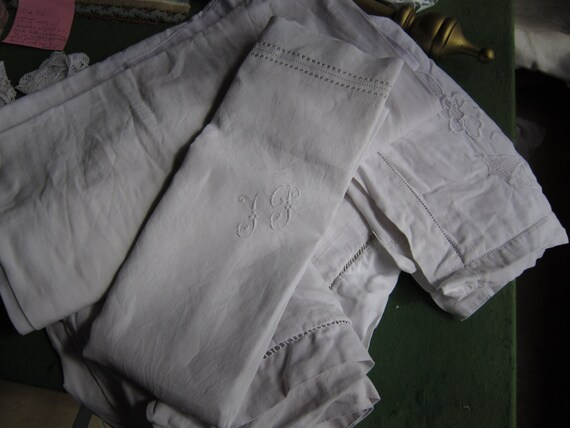 4 cotton and or linen French drawn threadwork pillowcases-use repair rework dolls clothes etc