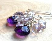 Cluster Amethyst Earrings Sterling Silver Pink & Purple Briolettes