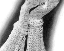INSTANT PDF PATTERN 1930s Crocheted Lace Cuff Gloves Crochet Pattern Beautiful Romantic Style Great For Bride