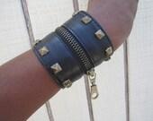 The Walluff a Leather cuff  with zipper stash in brass