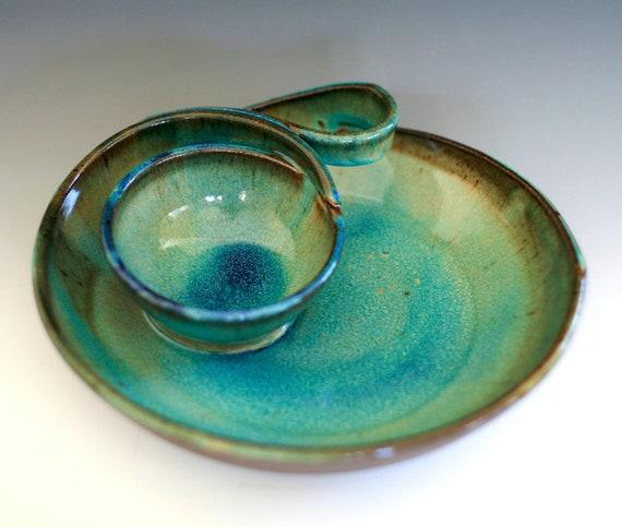 DISCOUNTED Chip and Dip, handmade ceramic dish, ceramics and pottery