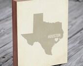 Houston Art Print - Texas Art - Houston Art - Houston Ohio - I Love Houston - Wood Block Art Print