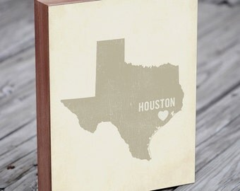 Houston Art Print - Texas Art - Houston Art - Houston Ohio - I Love Houston - Wood Block Art Print