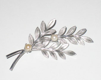 C*L*E*A*R*A*N*C*E Van Dell Sterling Brooch, Vintage, Silver Brooch, Branch Pattern, Marked, Pearl Accents, Branch Brooch, FREE SHIPPING