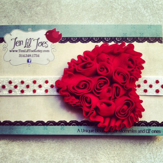Red chiffon rose heart headband - heart stretchy headband