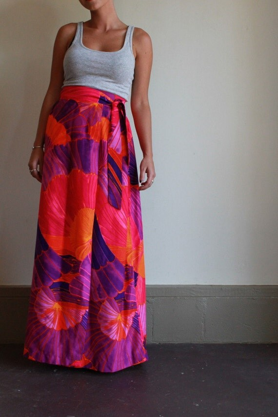 Vintage 70s Neon Maxi Skirt  /  Floral High Waisted Maxi Wrap Skirt  /  Extra Small XS