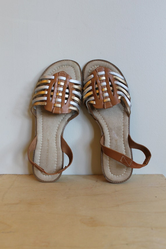Ethnic Flats Sandals  /  Huarache Gold And Silver  /  Vintage 80s  /  Size 9