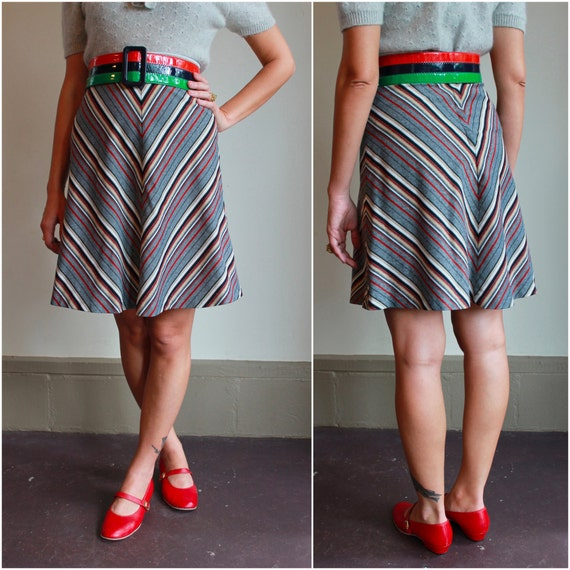 RESERVE  ///   70s Chevron Striped High Waisted Skirt  /  Vintage 1970s Aline Skirt  /  Extra Small XS