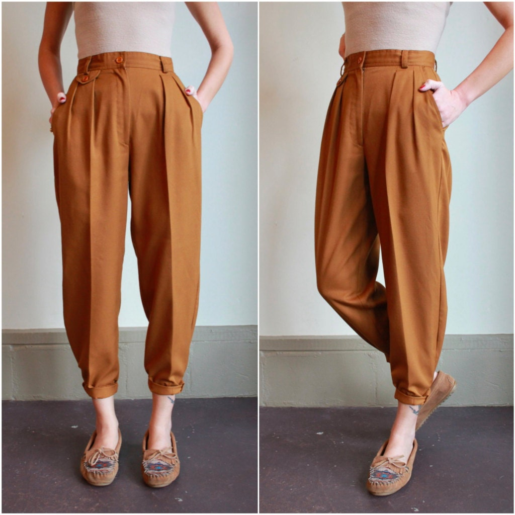 Vintage 80s High Waisted Pants / Pleated Trousers / Golden