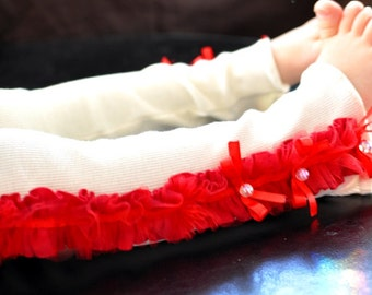 Red Ruffle Knit Baby Leg Warmers with Satin Bows/ Baby Girl Leg Warmers