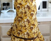 Ruffled Apron:  Golden Leaves and Tan Stripe