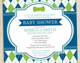 Preppy Bowtie Baby Shower invitation - set of 12