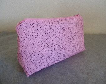Cosmetic Bag - Pink with Tiny Black Spots