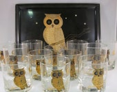 Full Set of 12 Couroc Owl Tumblers & Low Ball Glasses AND Tray Mid Century Bar