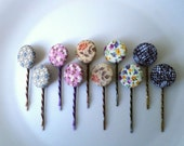 Bobby Pins- Fabric Covered Button,10 PIECES