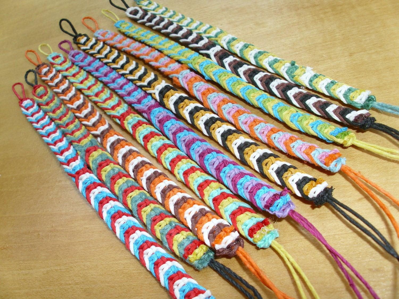 Hemp Fishbone Knot Bracelet You pick 3 colors macrame