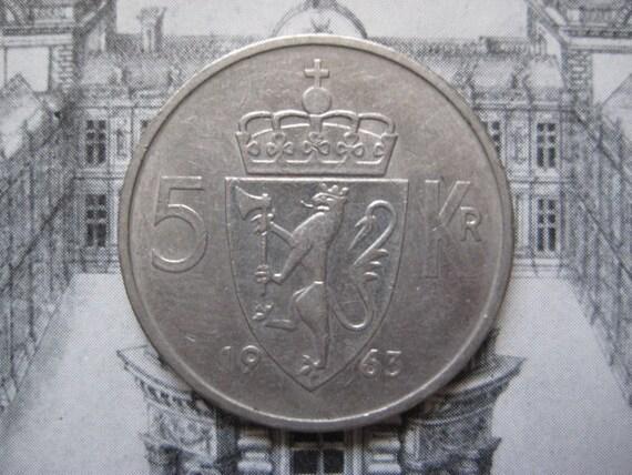 Norge, 1963 Norway,  5 Kroner - Olav V