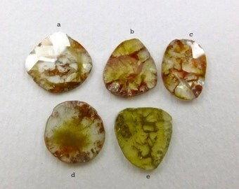 DiAMOND SLiCES. Faceted. Natural. Red / Orange Inclusions on White / Yellow Body. Free Form. 1 pc. 0.75 cts. 7.8x8.8mm (DIA219B)