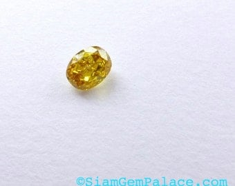 Natural YELLOW DiAMOND. CONFLiCT-FRee. Mined in Australia. Oval. Fancy Vivid Yellow. Si2. 1 pc. 0.25 cts. 3.1x4.0mm  (Dia237)