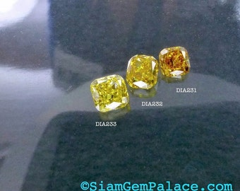 Natural YELLOW DiAMOND. CONFLiCT-FRee. Mined in Australia. Cushion. Fancy Vivid Yellow. Si1. 1 pc. 0.15 cts. 2.60x2.90mm  (Dia232)