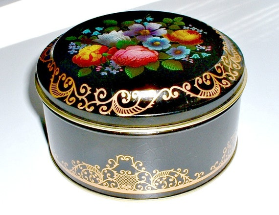 Vintage Floral Canister Tin Made In England Case Manufacturing Co New York