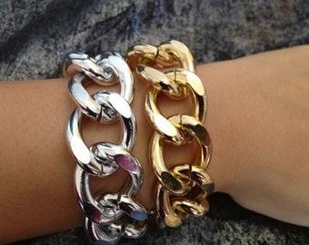 Doll House, Double Chunky Chain Wrap Bracelet, Two Tone