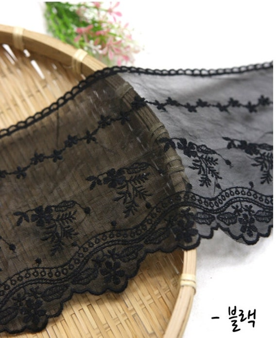 wide embroidered mesh lace by the yard (width 13.5cm) 40198-1 black