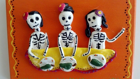 Day of the Dead Making Chile Rellenos Plaque
