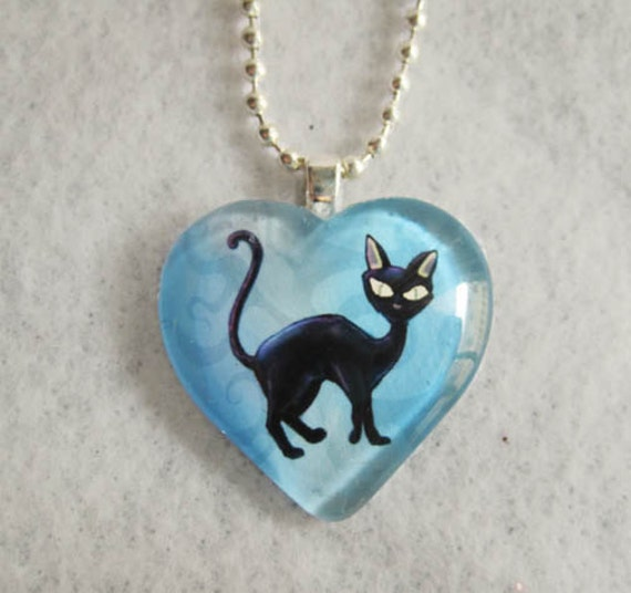 Lucky Black Cat Heart Pendant--Gothic Glass Necklace
