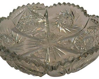 Vintage Crystal Dish w/ Sunburst Design