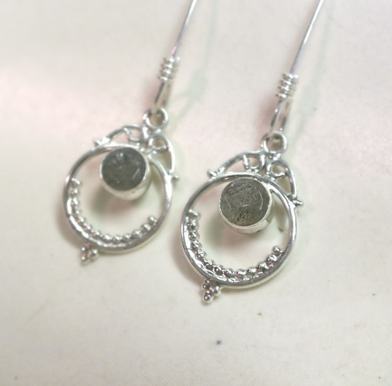 Round Blue Labradorite and Sterling Silver Drop Earrings