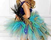 Infant Toddler Peacock Feather Bustle Tutu...Pageant, Flower Girl, Costume Tutu...Sizes 6 Months to 4T . . . GOLDEN PEACOCK with Feathers