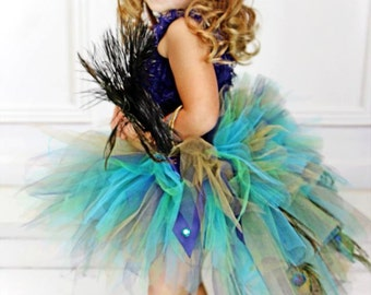 Infant Toddler Peacock Feather Bustle Tutu (Tutu Only)...Peacock Pageant, Peacock Costume Tutu...Sizes 6 Months to 4T . . . GOLDEN PEACOCK