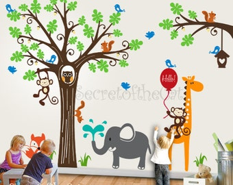 Wall Decals Nursery - Nursery Wall Decal - Tree Wall Decal - Tree Decal - Woodland Animal Wall Decals  Wall Sticker - Nursery