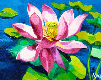Original Oil Painting- Liliy 11''x8'' in- Flower Painting Original Art Impressionistic OIl on Canvas by Ivailo Nikolov