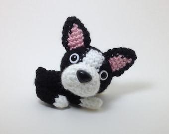 Boston Terrier Plush Puppy Stuffed Animal Handmade Crochet Dog Amigurumi Dog / Made to Order