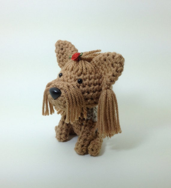 Yorkie Stuffed Animal Yorkshire Terrier Amigurumi Dog Crochet Dog Silver and Tan