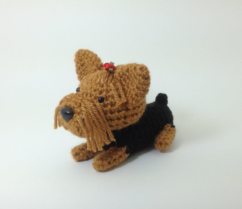 Free Amigurumi Yorkie Pattern : Yorkshire Terrier Amigurumi Dog Crochet Puppy Stuffed Animal