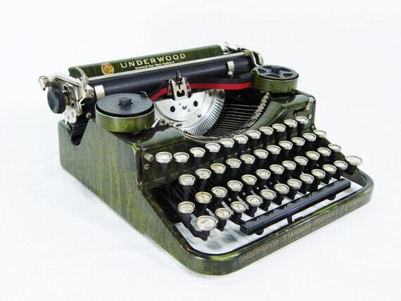 1930s Portable Typewriter Vintage Green color