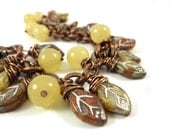 Autumn Leaves Bracelet Copper Bracelet Fall Colors Red Yellow Brown Earth Tone Wire Wrapped Lemon Jade