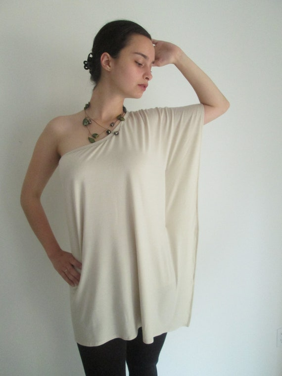 Shoulderless Caftan Shirt with Built-In Cami in Lightweight Jersey Knit/Color Papyrus - Size M