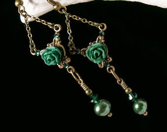 Forest Green Pearl Victorian Earrings, Rose Dangle Drops, Antique Bronze Filigree Titanic Temptations Vintage Edwardian Bridal Style Jewelry