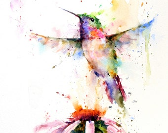 HUMMINGBIRD and Flower Watercolor Bird Art Print by Dean Crouser