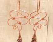 Copper wire and goldstone earrings