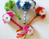 Rainbow Wedding Flowers, Gerbera Daisy Bouquets, Bridesmaids Bouquets, Your Choice of Colors, Wedding Floral Package