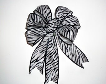 Zebra Bows In Black And White, Set Of 6, Christmas Tree Bows, Garland