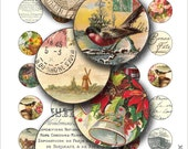 1 inch round images Printable Download Digital Collage Sheet 1 inch circle flower vintage script bird diy jewelry pendant bottle cap sticker