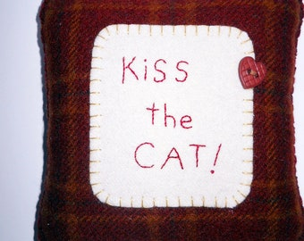 "Cat Pillow - ""Kiss the Cat"" - Funny Novelty Pillow - Valentine Cat Decoration"