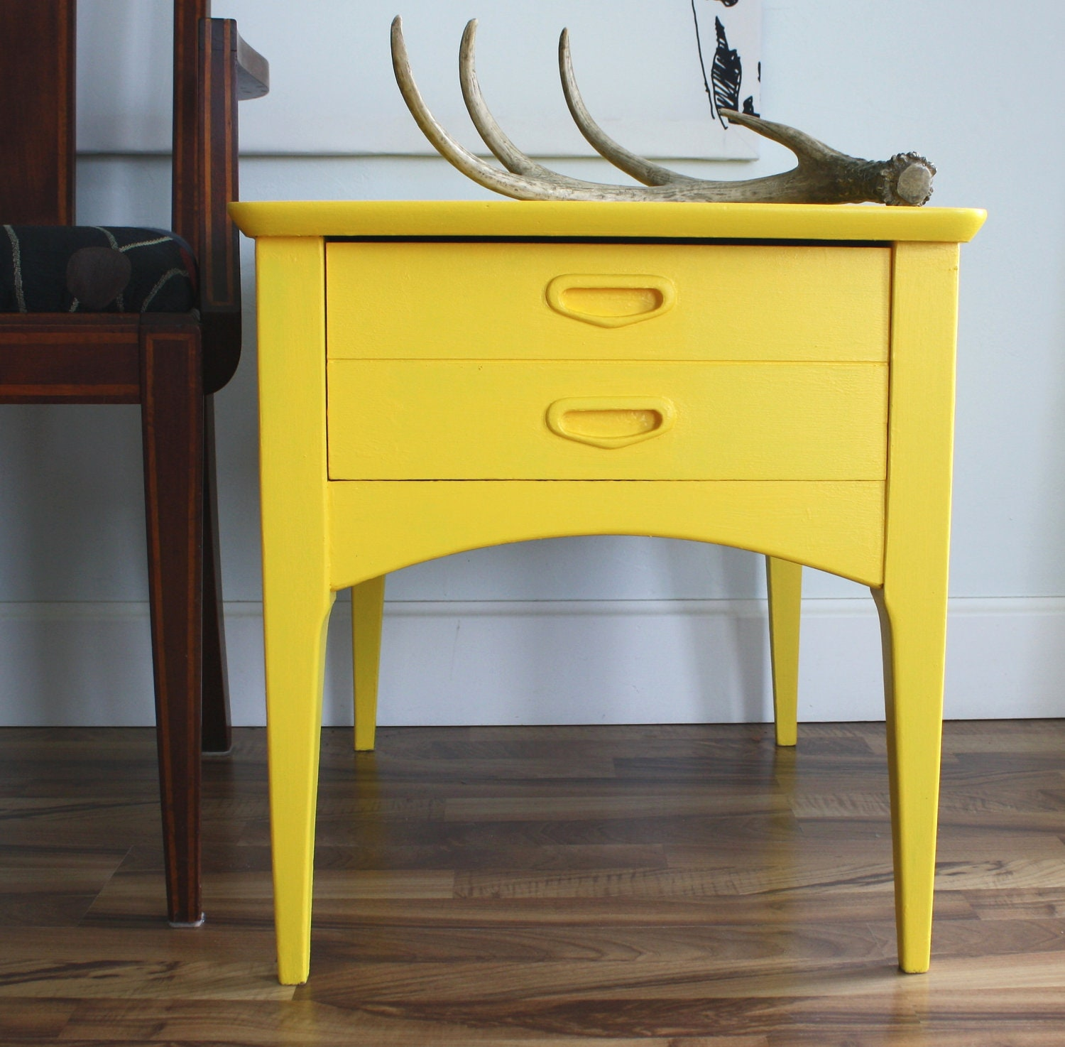 Mid Century Modern Yellow Side / Accent Table by theTurquoiseIris